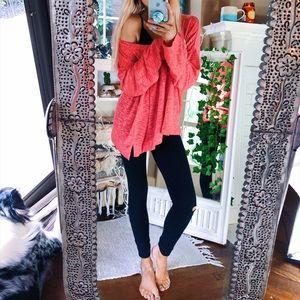 Jaden Hot Pink Marled Knit Tunic LS Top B179